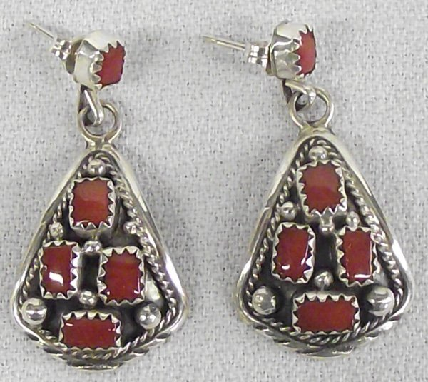 Navajo Coral Sterling Cluster Earrings, Signed MC