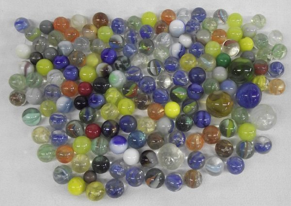 Vintage 150+ Marbles with Leather Bag