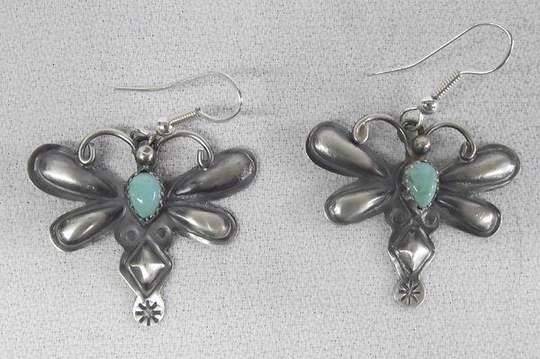 Navajo Turquoise Sterling Earrings- Tim Yazzi