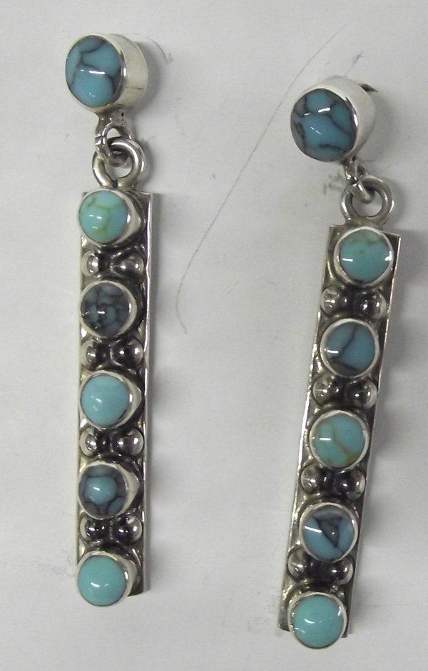 Navajo Turquoise Sterling Pierced Earrings