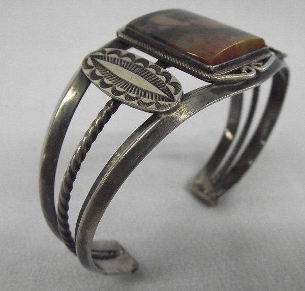 Vintage Navajo Petrified Wood Sterling Bracelet