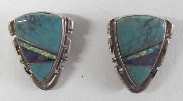Navajo Channel Inlay Stone Earrings-A. Francisco