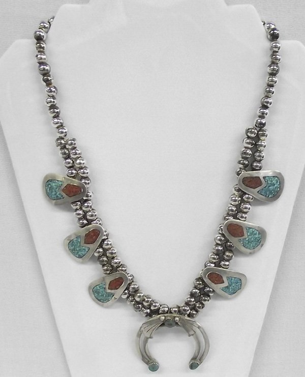 1970 Navajo Chip Inlay Sterling Squash Blossom Necklace