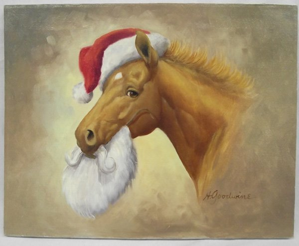 Original Horse Painting on Canvas-H. Goodwine