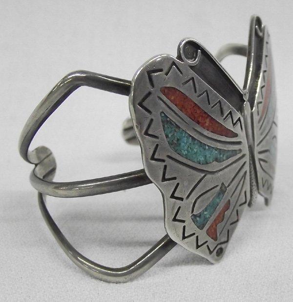 1970 Navajo Inlay Butterfly Sandcast Bracelet