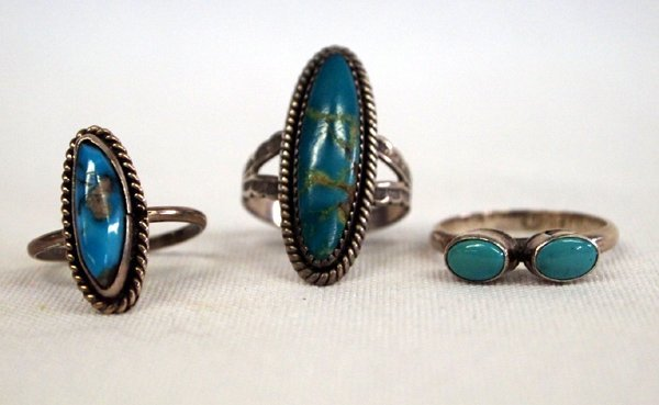 Three Vintage Navajo Turquoise & Silver Rings