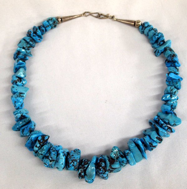 Santo Domingo Graduated Turquoise Nugget Necklace