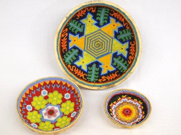 Three Huichol Beaded Gourd Bowls