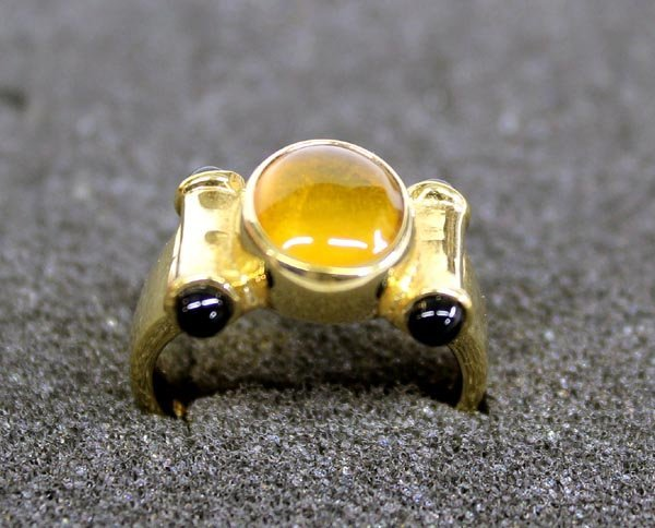 Gold Overlay Ring Amber & Onyx, Size 6 1/4''