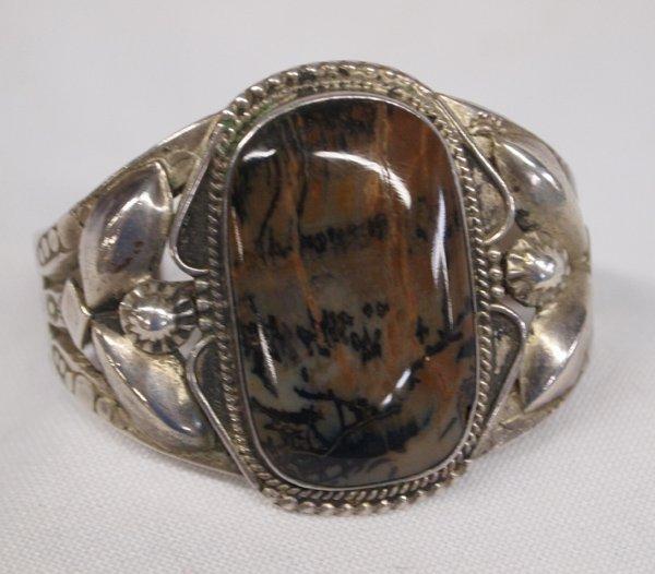 Vintage Navajo Sterling & Petrified Wood Bracelet