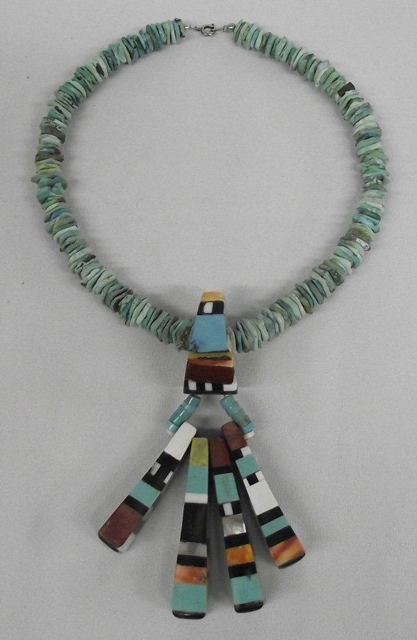 Dynamic Santo Domingo Bone Inlay Pendant Necklace
