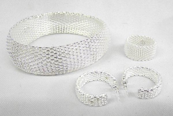 Sterling Silver Mesh Ring, Bracelet & Earrings