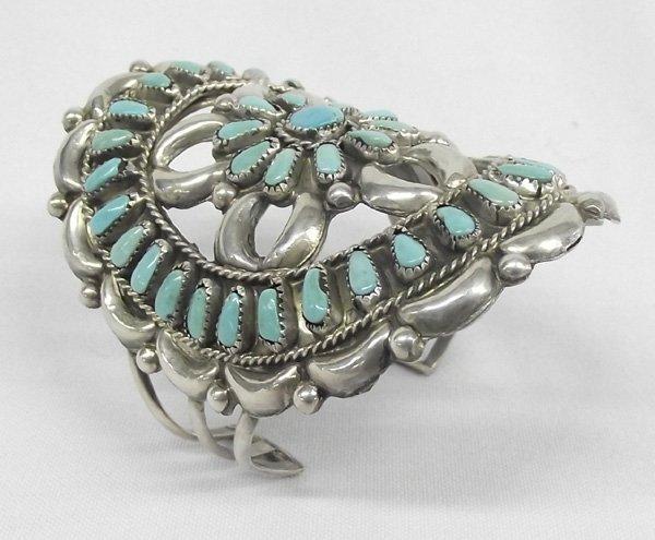 Navajo Pawn Sterling Turquoise Cluster Bracelet