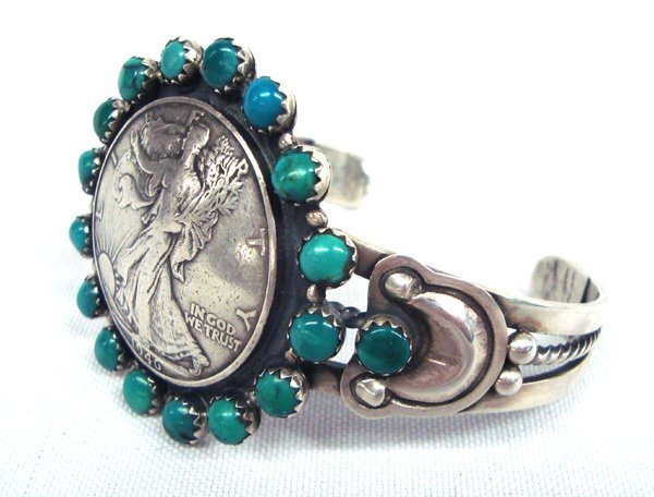 Navajo Silver Turquoise Bracelet - Buffalo Dancer