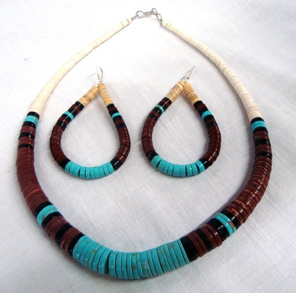 Santo Domingo Turquoise Heishi Necklace & Earrings