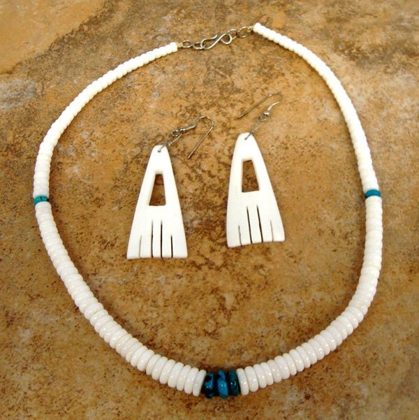 Santo Domingo White Bead Necklace & Earrings Set