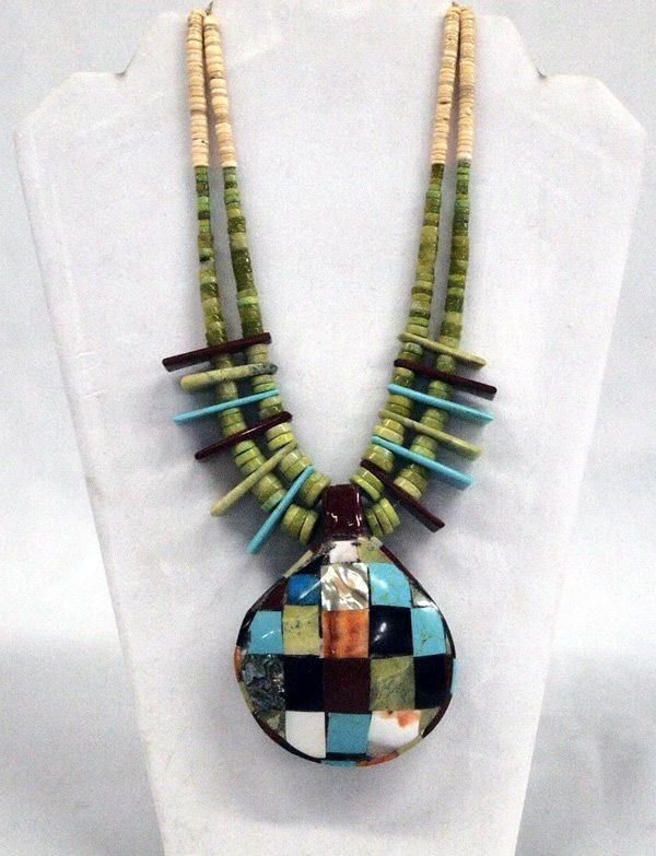 Santo Domingo Inlay Serpentine Bead Necklace