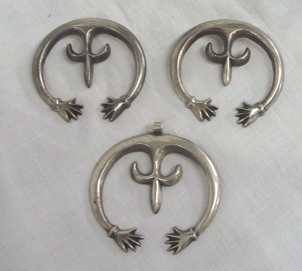 Navajo Silver Friendship Hands Naja Pendants