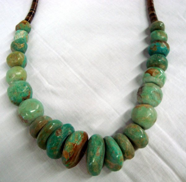 Vintage Large Green Turquoise Bead Necklace