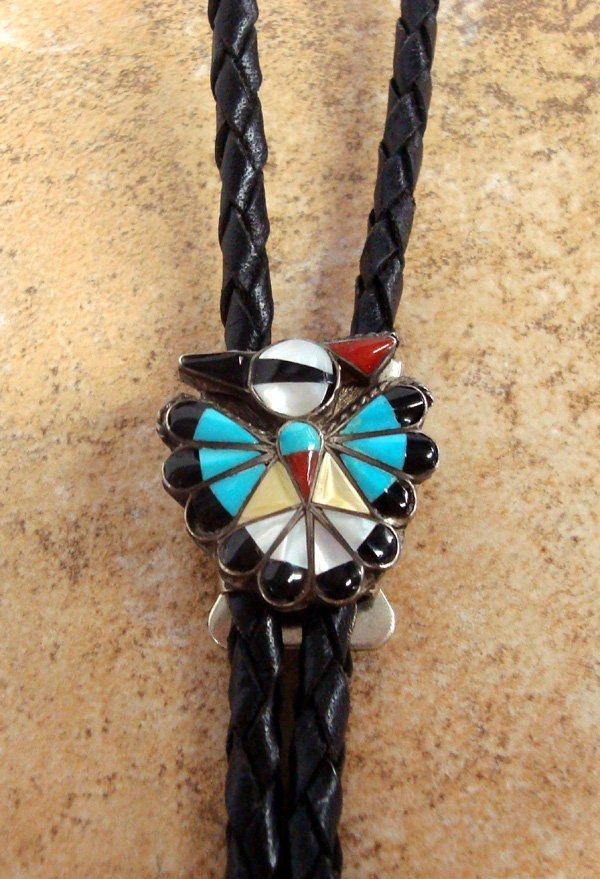 Zuni Sterling Turquoise Eagle  Channel Inlay Bolo Tie