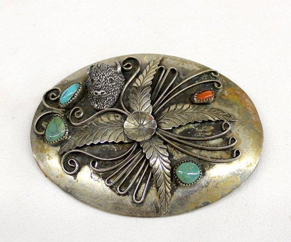 Navajo German Silver Turquoise Buckle