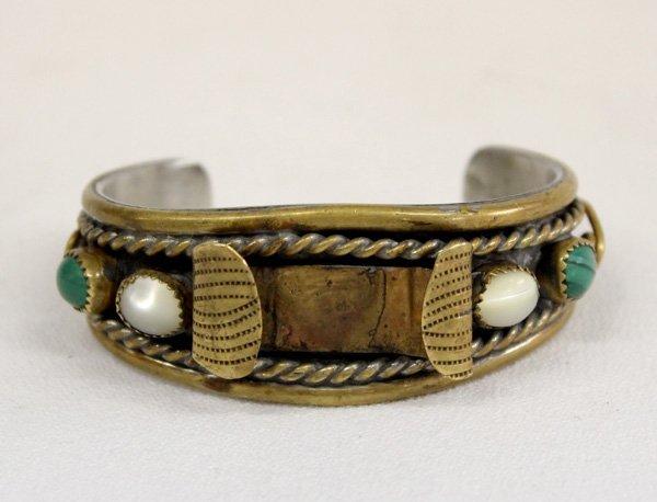 Navajo Silver Brass and Malachite Watchband