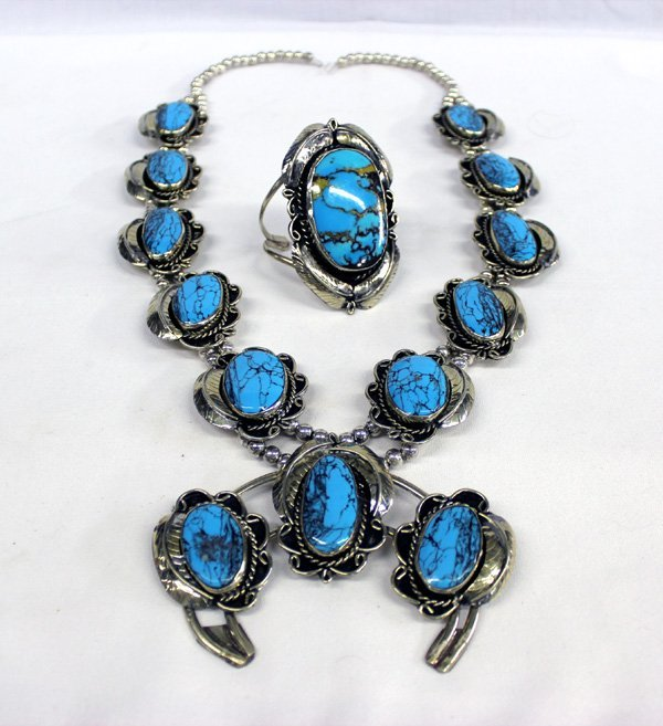 Navajo German Silver Squash Necklace Bracelet