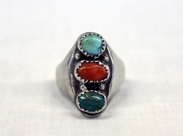 Vintage Navajo Sterling Silver Turquoise Coral Ring
