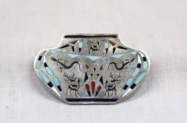 Zuni Sterling Inlay Olla Pin Pendant - Peynesta