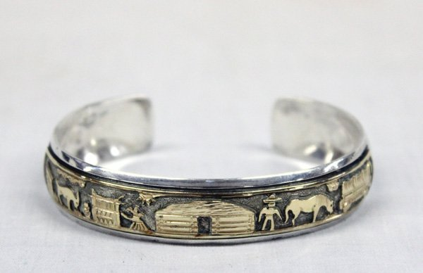 Navajo Sterling Silver 12KtGF Storyteller Bracelet