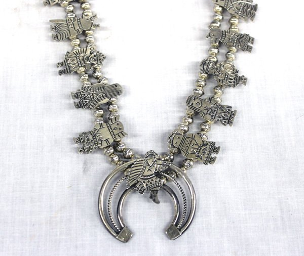 Hopi Sterling Kachina Squash Blossom Necklace