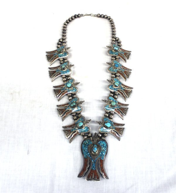 Vintage Navajo Sterling Squash Blossom Necklace - Ben