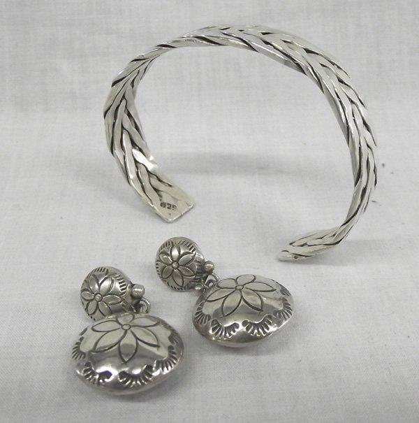 Navajo Sterling Silver  Bracelet & Pierced  Earrings