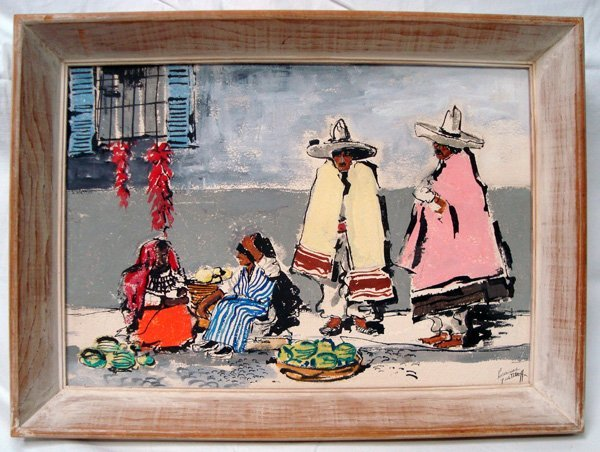 1930 Original Mexican Marketplace Painting -  Guetthoff