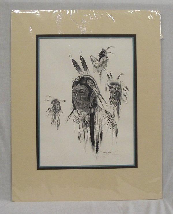 Kiowa Numbered Print Wooden Lance - Woody Crumbo