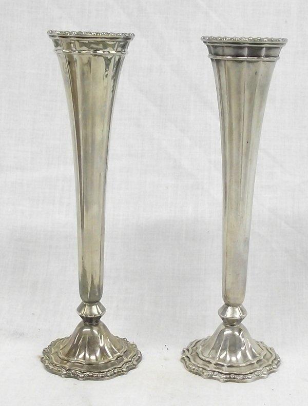 Pair HMC Avon Italian Silver Plated Trumpet Vases