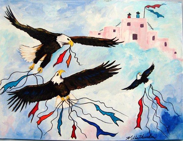 Original Acrylic Painting Eagles Crest -  Kills Thunder
