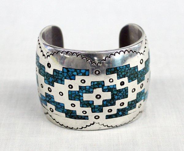 Dynamic Navajo Chip Inlay Sterling Cuff Bracelet