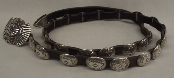 Navajo Sterling Hand Stamped Concho Leather Belt.