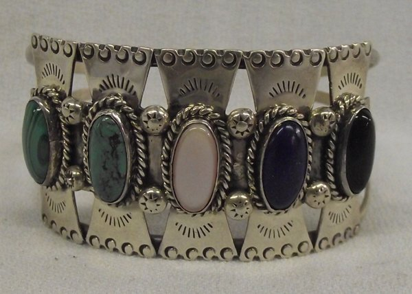 Zuni Sterling Multi Stone Bracelet