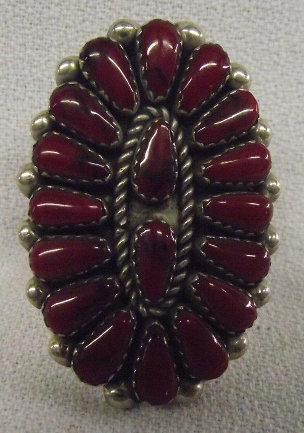 Old Pawn German Silver Navajo Coral Ring