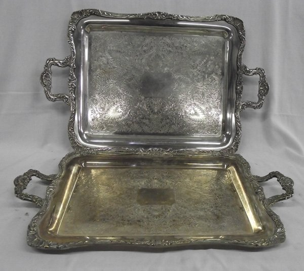 Two Vintage Large Silverplate Handled Trays