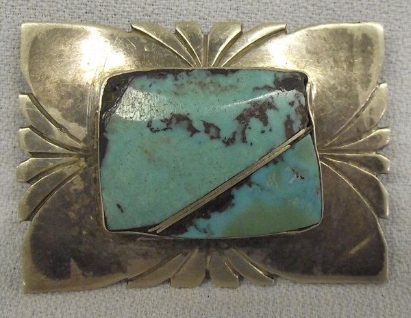 Old Pawn Navajo Sterling Turquoise Pin