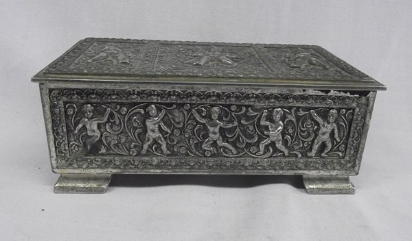 Silver Metal Trinket Box with Cherubs