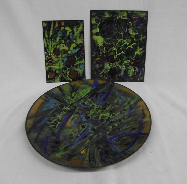 Three Artist Copper Enamel Trays