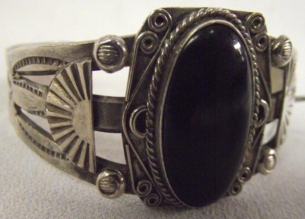 Vintage Sterling Black Jet Bracelet