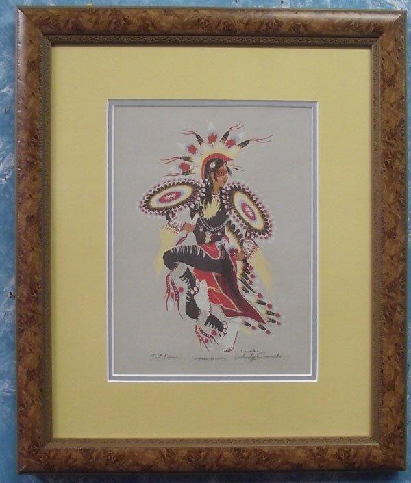 Signed Silkscreen Woody Crumbo Tail Dancer Print