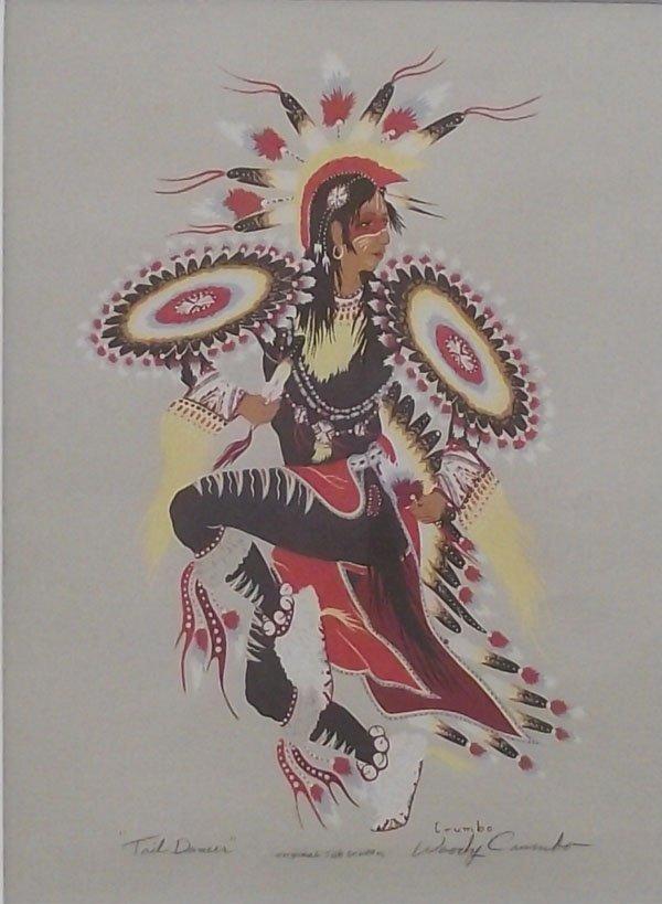 Signed Silkscreen Woody Crumbo Tail Dancer Print - 2
