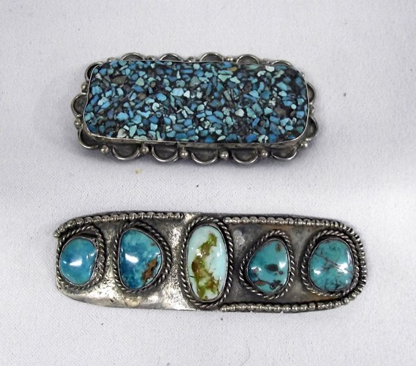Two Navajo Old Pawn Pins, Silver & Turquoise