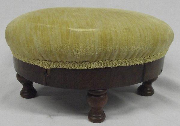 Antique Velvet on Walnut Wooden Footstool